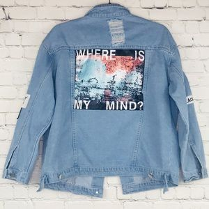 Jackets & Blazers - Where Is My Mind Distressed Patched Denim Jacket